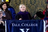 Hillary Clinton puts on Russian hat