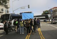 Demonstrators block Google commuter bus