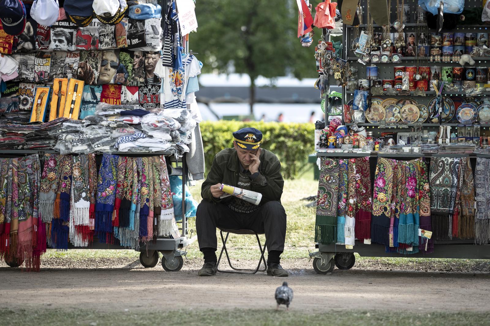 A souvenir seller
