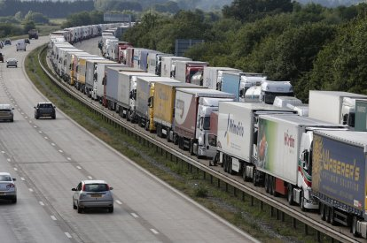 Lorries are backed up on the M20 motorway