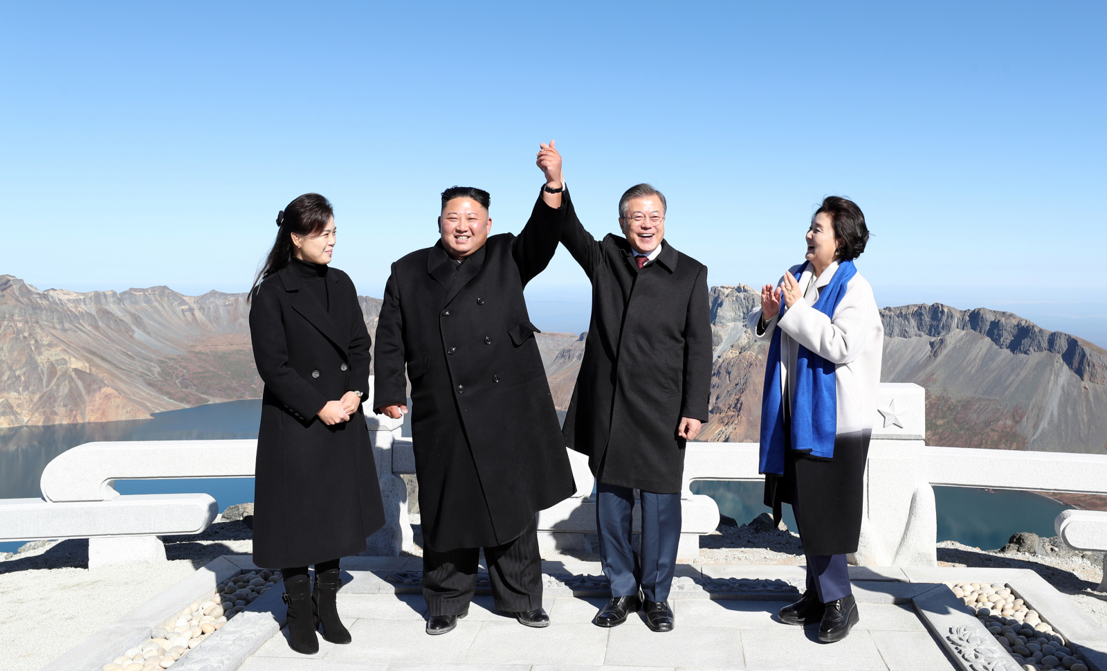 Kim Jong Un and Kim Jung-sook