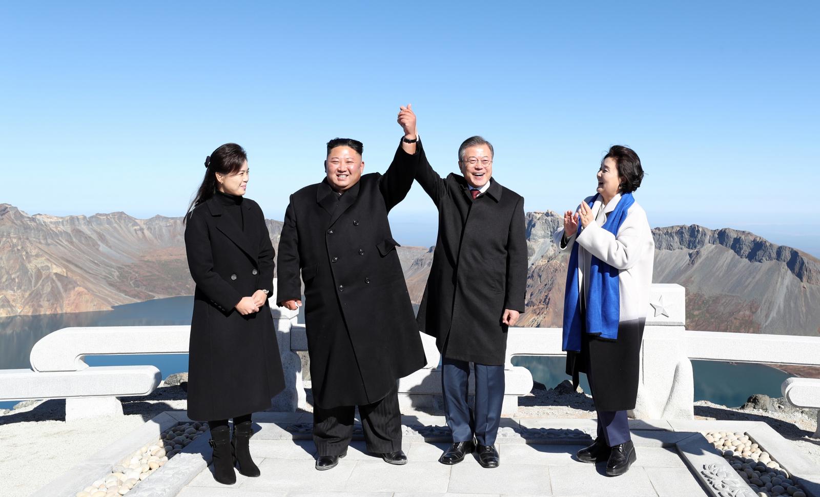 Kim Jong Un and Kim Jung-sook