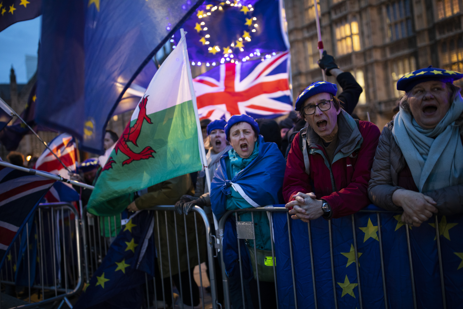 Anti-Brexit protesters outside the Houses of Parliament