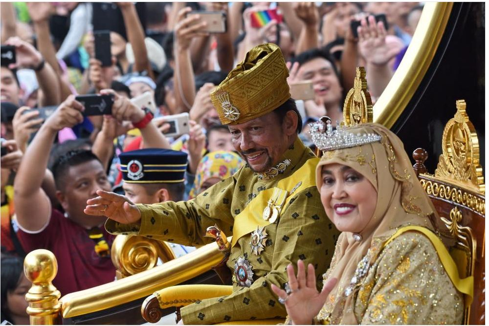 Brunei's Sultan Hassanal Bolkiah and Queen Saleha