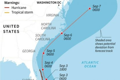 Map of the forecast path of Hurricane Dorian, as of Sept 2