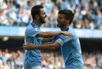Manchester City's Bernardo Silva and David Silva
