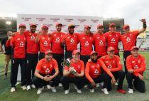 England celebrate winning the T20 series