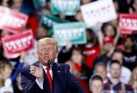 Trump addresses a rally in Michigan