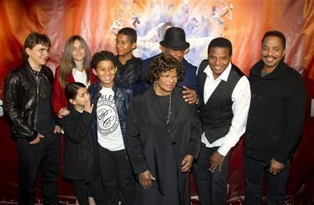 The family of late singer Michael Jackson, including his children Prince Michael Joseph Jackson Jr. (far L) , Paris-Michael Katherine Jackson (2nd L) and Prince Michael Jackson II (L front), his brother's children Jaffar Jackson (3rd L back), Jermaje