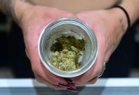 A jar of Insane OG marijuana