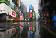Nearly empty Times Square