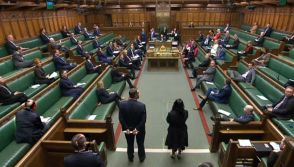 British MPs maintaining social distancing in Parliament