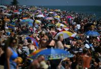 Beachgoers enjoy sunshine at Southend on Sea