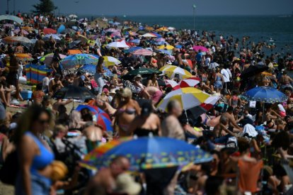 Beachgoers enjoy sunshine at Southend on Sea