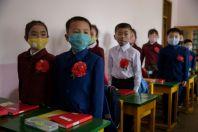 North Korea's children wearing face masks