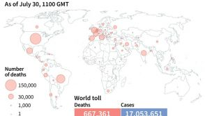 World map showing spread of coronavirus