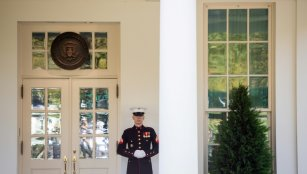 US Marine stands guard outside Oval Office