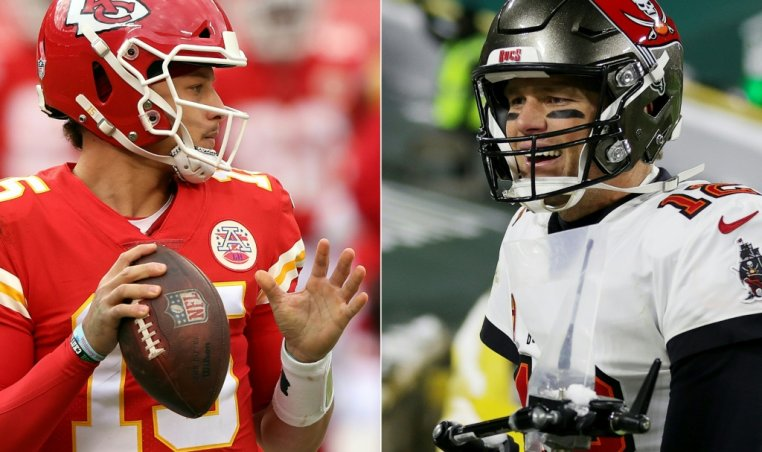 Patrick Mahomes (L) and Tom Brady