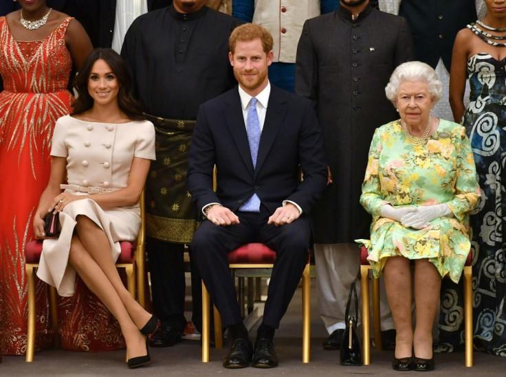 Meghan Markle, Prince Harry, Queen Elizabeth II.