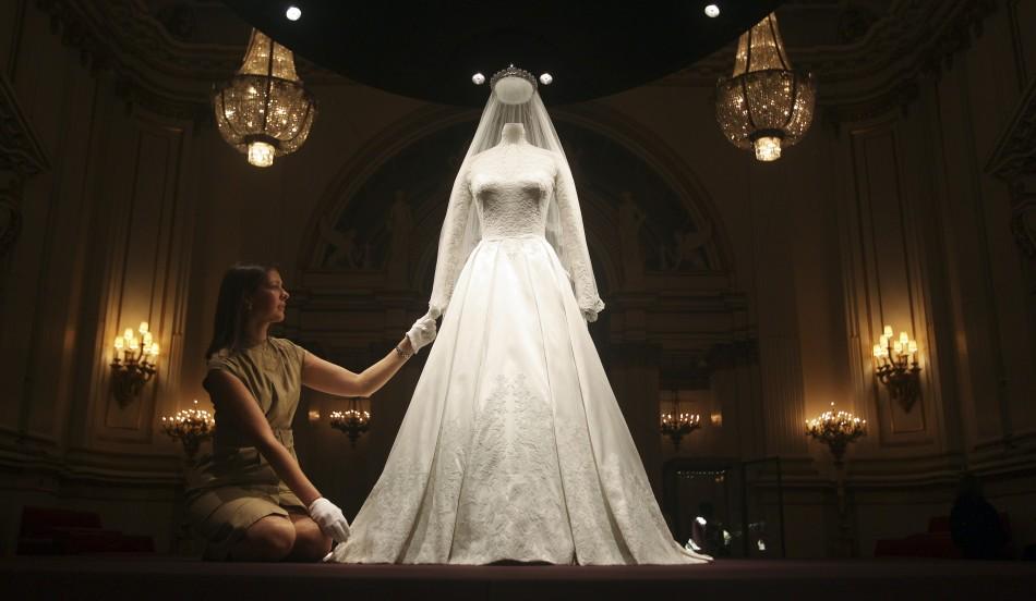 The wedding dress of Britain's Catherine, Duchess of Cambridge