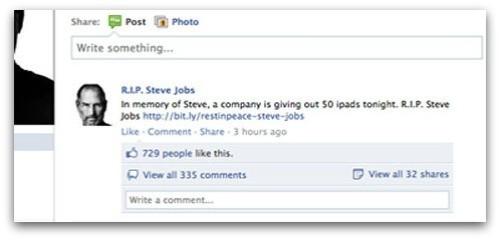 Jobs iPad Facebook Scam