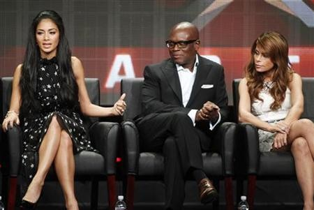 Nicole Scherzinger (L), L.A. Reid (C), and Paula Abdul, judges on new talent show 'The X Factor'.