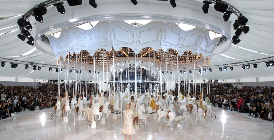 Models present creations by Marc Jacobs during Paris Fashion Week