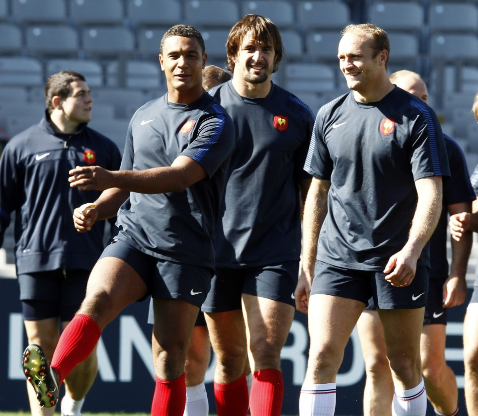 France captain Thierry Dusautoir, Julien Pierre and Julien Bonnaire take part in their Captain's run in Auckland