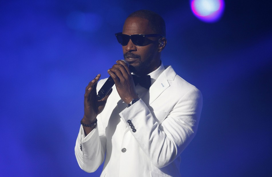 """Jamie Foxx performs during the """"Michael Forever"""" tribute concert, which honours late pop icon Michael Jackson, at the Millennium Stadium in Cardiff, Wales October 8, 2011."""