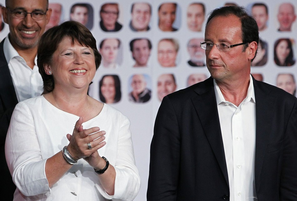 French Socialists candidates for the 2011 French Socialist Party presidential primary Aubry and Hollande attend summer meeting of the French Socialist Party in La Rochell