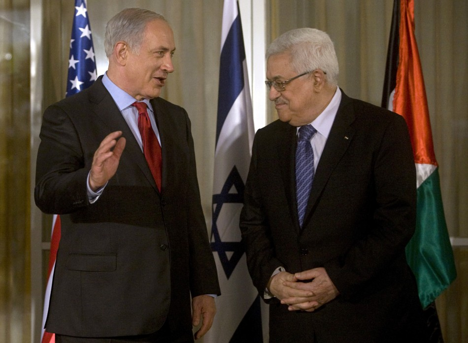 Israel's Prime Minister Netanyahu and Palestinians' Mahmoud Abbas at last peace talks