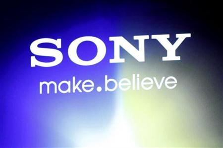 """A Sony logo is seen at an unveiling of the company's head mounted display """"Personnal 3D Viewer HMZ-T1"""", in Tokyo"""