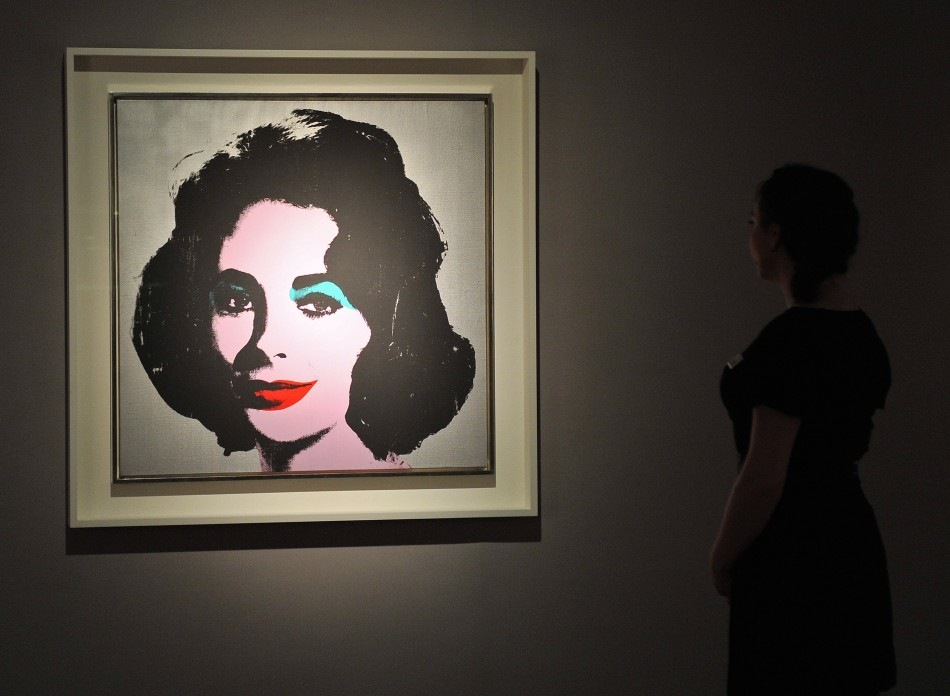 An Andy Warhol portrait of Elizabeth Taylor at Christies auction house in London