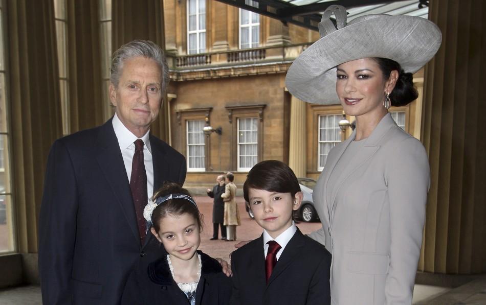Welsh actress Catherine Zeta-Jones and her husband U.S. actor Michael Douglas, pose with their children