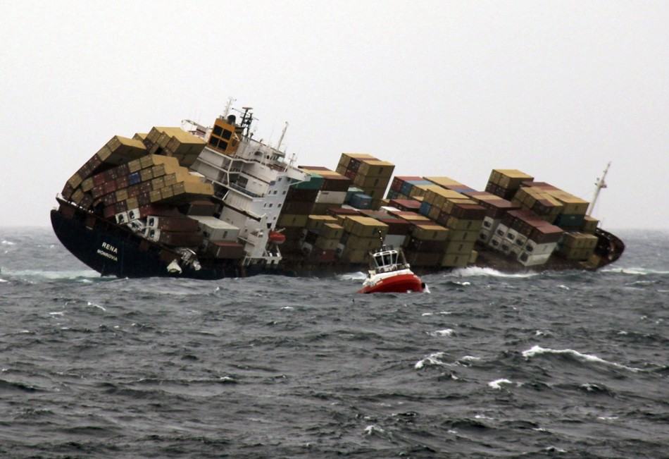 Blow she goes: The ship has already lost 70 containers in the bad weather
