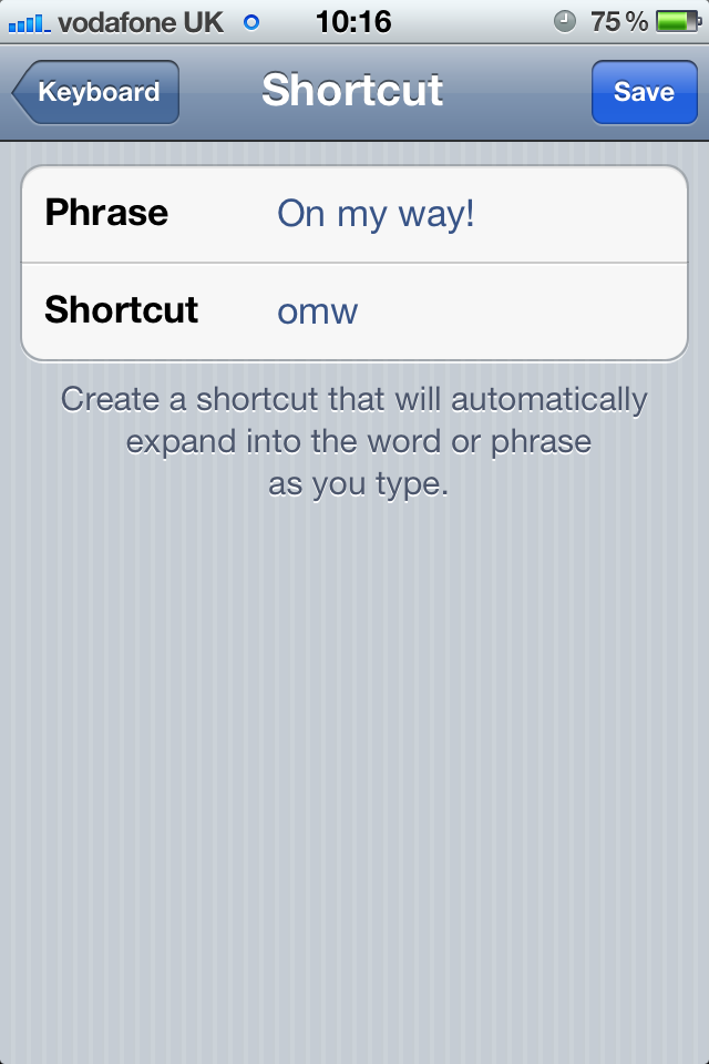 Keyboard shortcuts in iOS 5