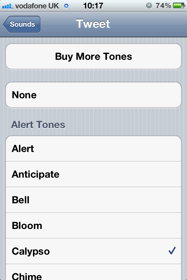 The iTunes Tone Store offers alerts and ringtones to donload