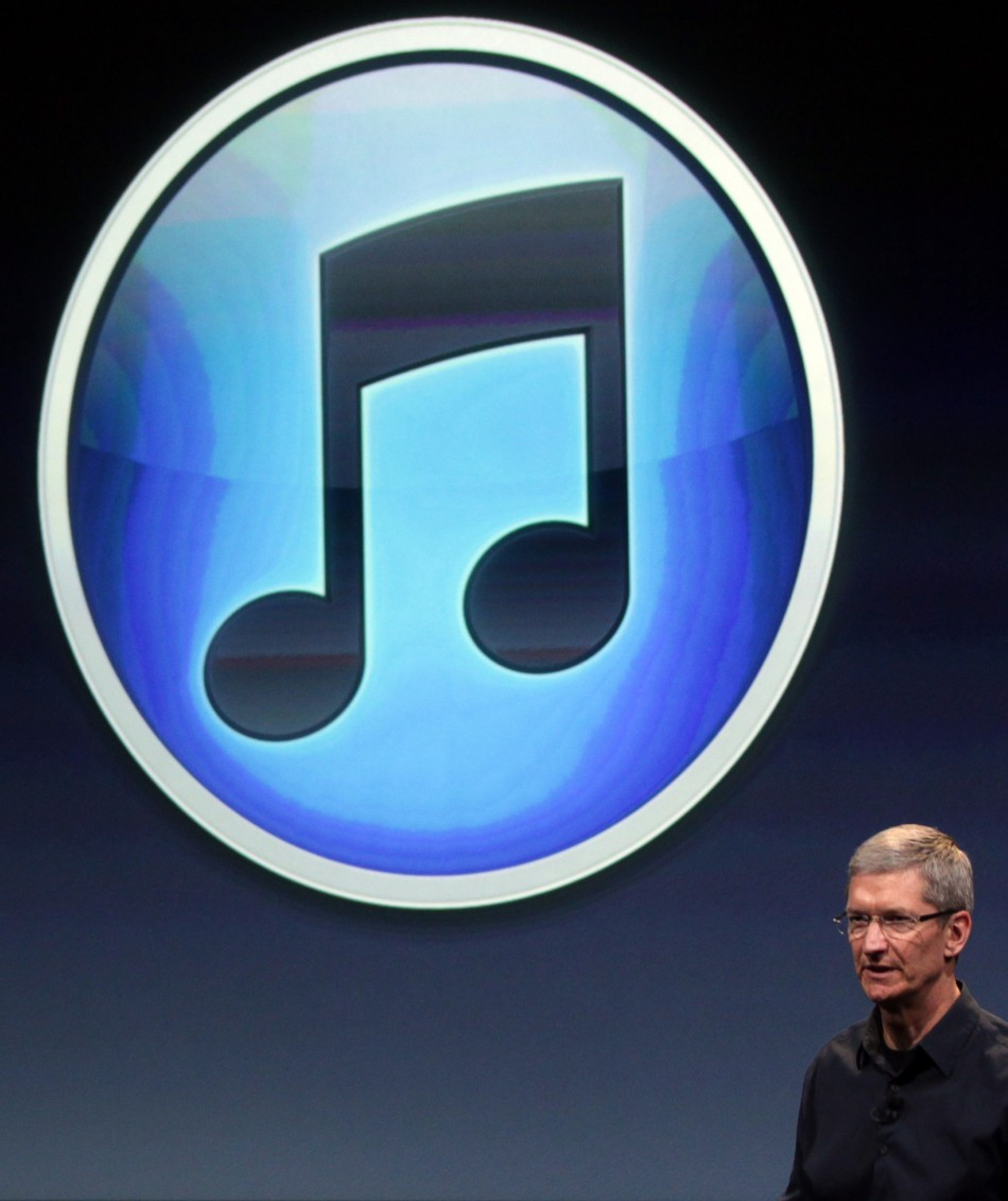 Apple CEO Tim Cook speaks about iTunes at Apple headquarters in Cupertino, Calif.