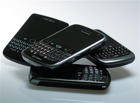 Blackberry smartphones are pictured in this illustration photo taken in Berlin