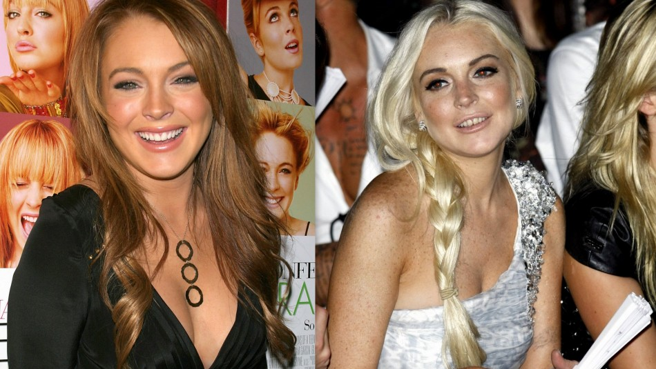 Lindsay Lohan in 2004 and Now
