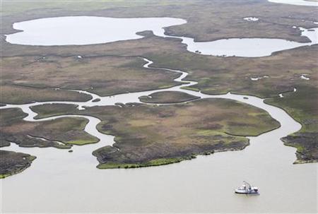 A shrimp boat trawls near healthy marsh, bayous and water ways east of the mouth of the Atchafalaya River near Morgan City, Louisiana