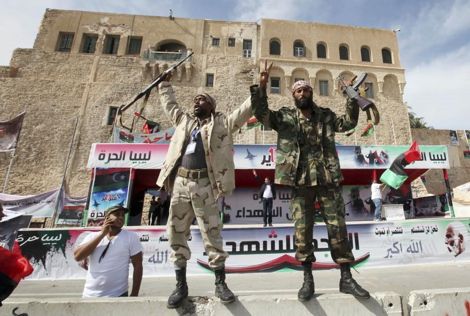 Libyans celebrate at Martyrs square in Tripoli