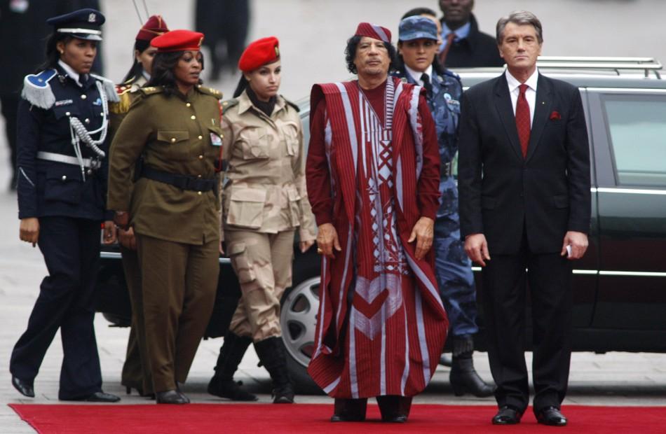 Libyan leader Gadhafi and Female Bodyguards