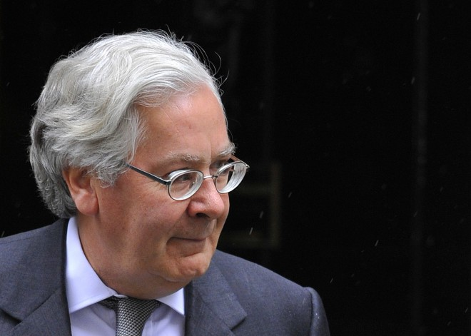 Bank of England Governor King leaves the British prime minister's offices at 10 Downing Street in central London