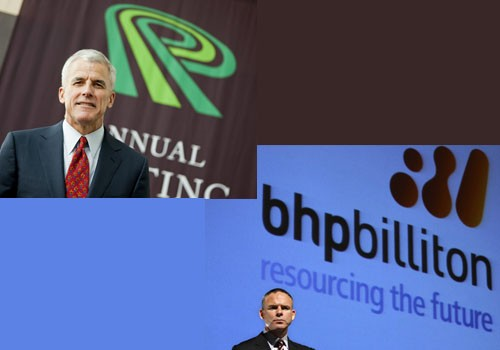 Potash Corp CEO Bill Doyle and (bottom) and BHP Billiton CEO Marius Kloppers