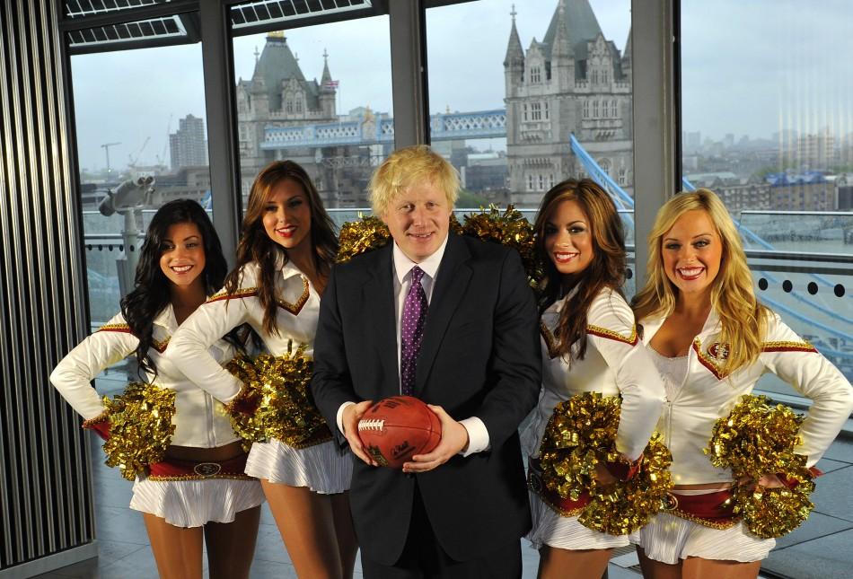 Mayor of London with cheerleaders