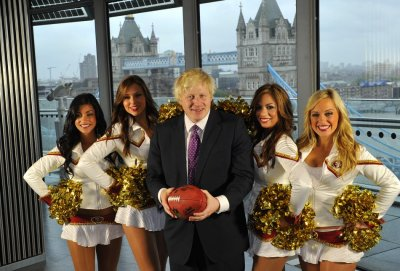 Mayor of London with cheerleaders