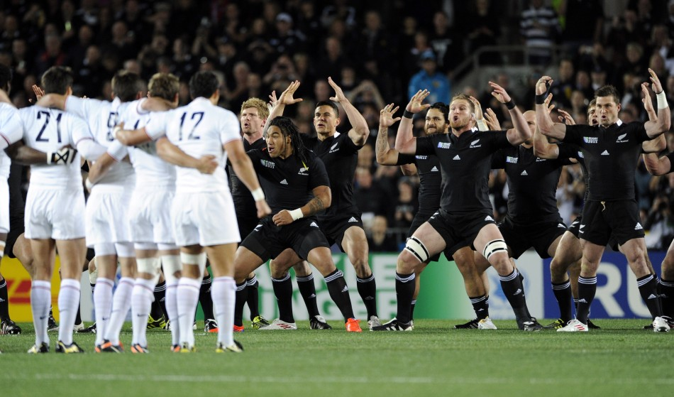 France players look on as New Zealand All Blacks039 Kahui perform the Haka before their Rugby World Cup final match at Eden Park in Auckland.