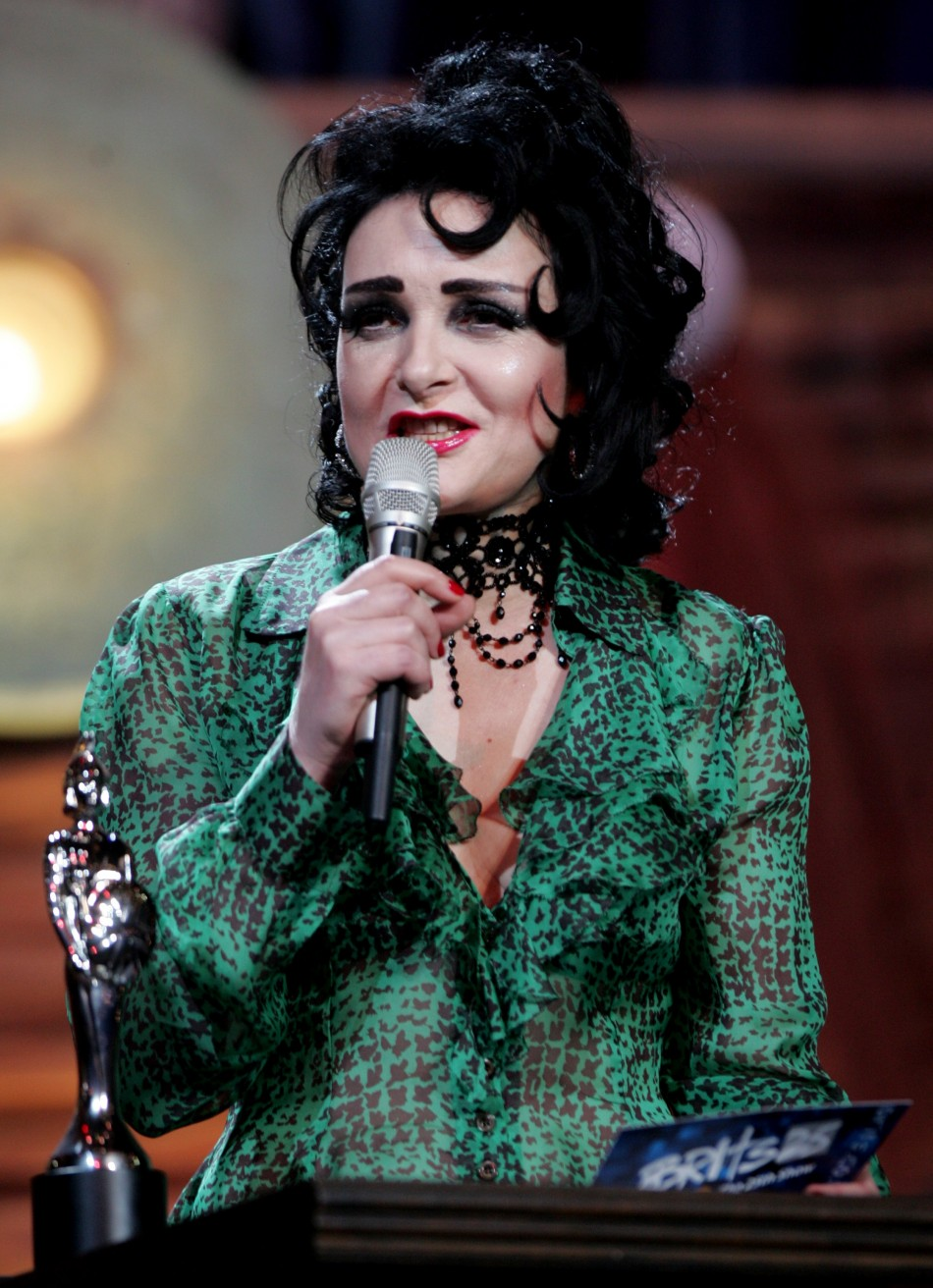 British singer Siouxsie Sioux presents an award at the Brit Awards in London.