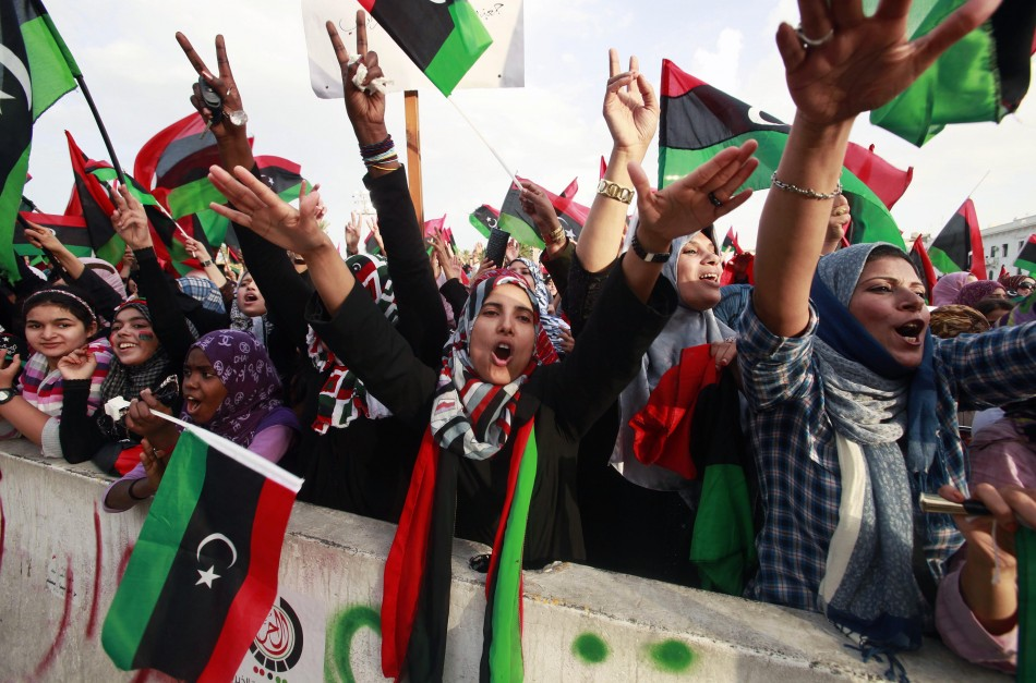 Women celebrate the liberation of Libya at Martyrs' Square in Tripoli